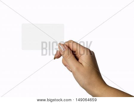 Blank card in woman hand isolated on white background