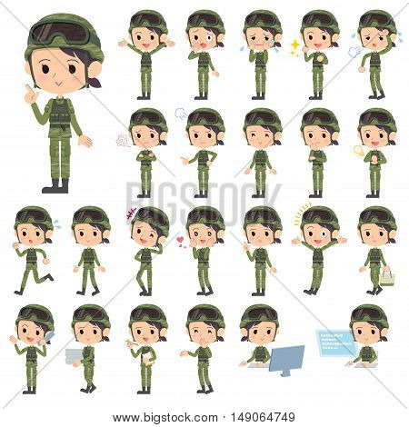 Set of various poses of military wear woman