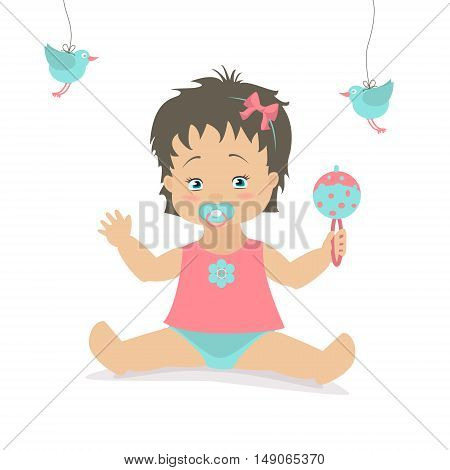 Baby girl sitting with a rattle. Vector cartoon illustration. Caucasian