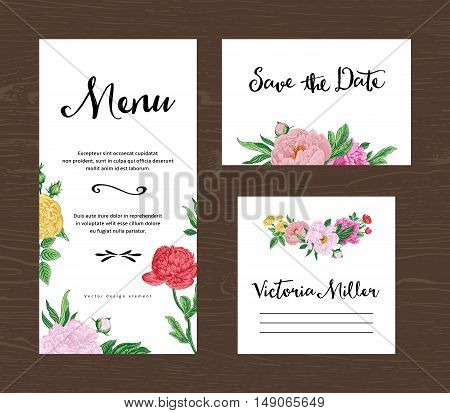 Wedding set. Menu save the date guest card. Colorful flowers peonies and roses. Vintage vector illustration.