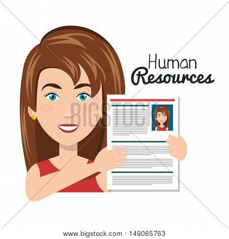 character woman with curriculum human resources vector illustration