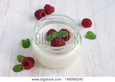 Delicious Creamy Mousse With Fresh Raspberries
