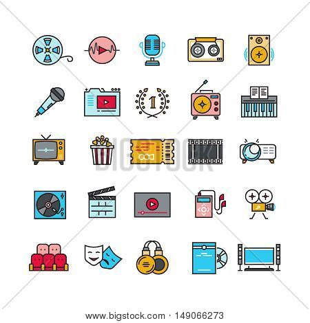Multimedia sound audio music radio video thin line vector icons with flat elements. Media player and cinema, movie and headphone illustration