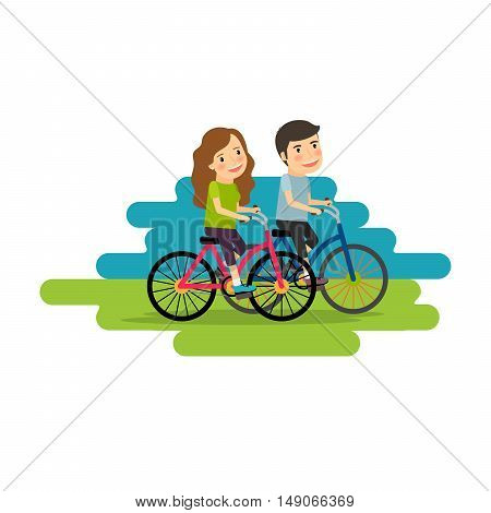 Active lifestyle people ride bicycles. Vector illustration
