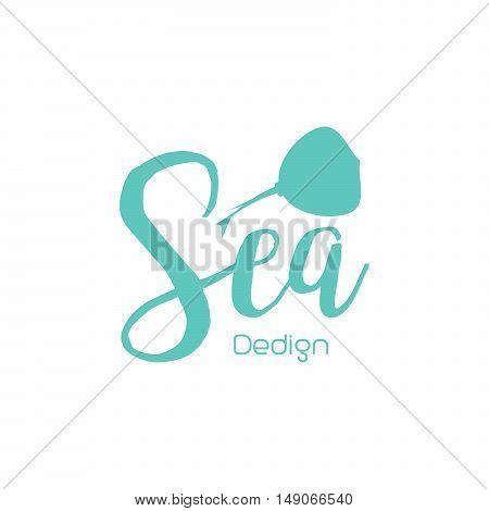 Skat sea lettering design isolated on white. Vector illustration