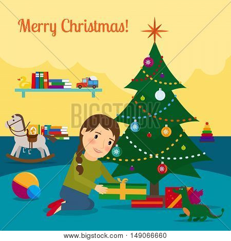 Girl decorates christmas tree. Cartoon vector illustration