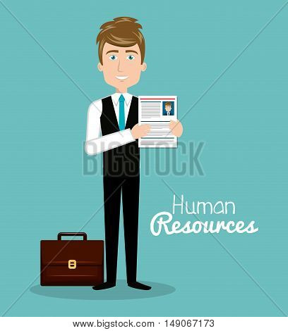 man character with portfolio and curriculum human resources vector illustration