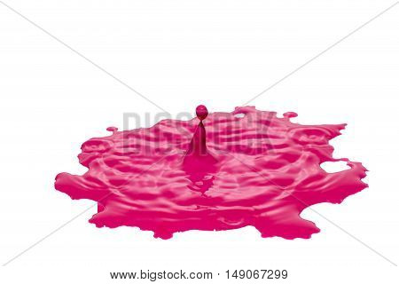 Impact of pink color water drop into a puddle of pink paint. All is isolated on the white background.