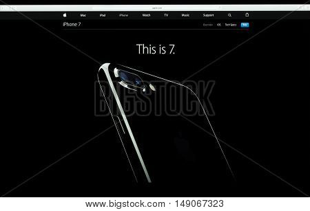 Bangkok Thailand - SEPTEMBER 27 2016: Apple computer website showcasing iPhone 7 available for sale iPhone 7 is new phone from Apple Inc. come along operating system ios 10