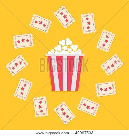 Popcorn Box and Ticket round frame with stars. Cinema Movie icon in flat design style. Yellow background. Vector illustration