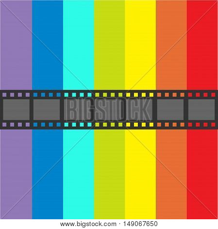 Film strip frame. Straight shape ribbon. Design element. Rainbow flag background. LGBT Gay movie cinema sign symbol. Flat. Vector illustration