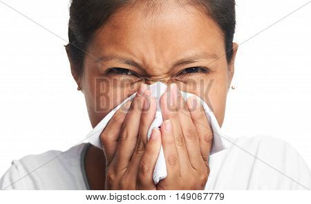Close Up Of Girl Blowing Her Nose