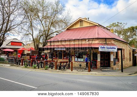 Adelaide Australia - August 13 2016: Post Office shop in Hahndorf Adelaide Hills area South Australia. View from the main street