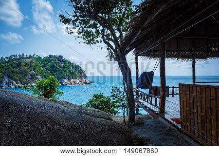 Beachhut with hammock under the roof in Thailand