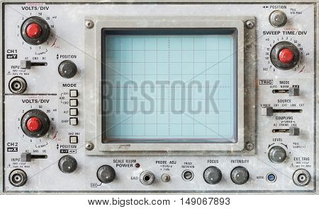 Old oscilloscope technical equipment blank screen (no graph)