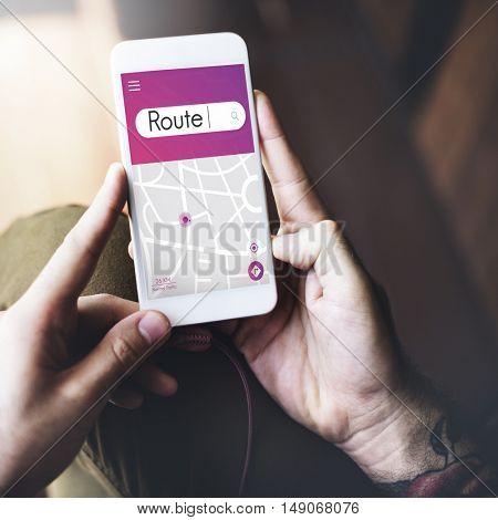 Route Navigation GPS Map Destination Concept