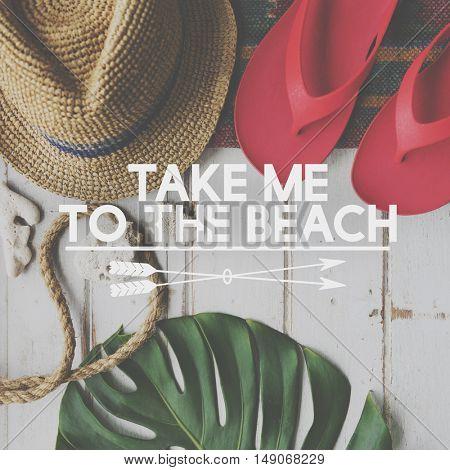 Summer Break Lifestyle Flip flop Vacation Words Concept