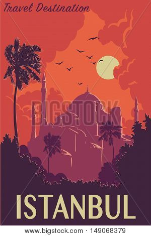 Sunset panorama of Istanbul with silhouettes of trees and Hagia Sophia. Retro poster design. Vintage style poster. EPS10 vector illustration.
