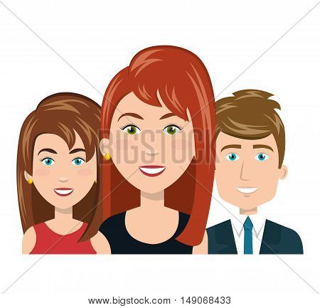 character women and man smiling recruiter employee vector illustration