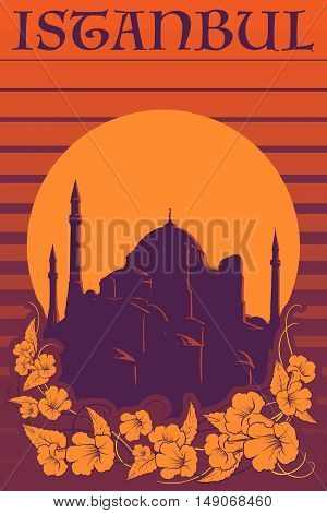 Sunset panorama Istanbul with Hagia Sophia silhouette and trumpetbush flowers vigniette. Retro poster design. EPS10 vector illustration.