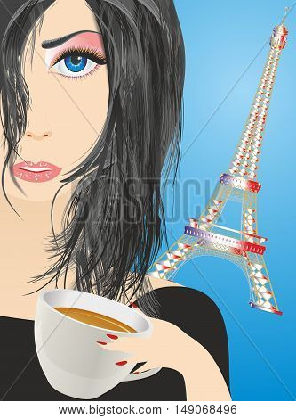 composition with a girl who drinking coffee on the background of the Eiffel tower