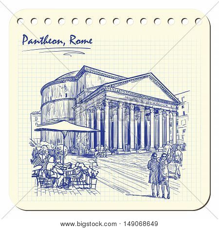 City life scene in Rome. Pantheon and groups of people wandering around. Architectural sketch in a notepad. Travel sketchbook drawing. Sketch is isolated on a separate layer. EPS10 vector illustration