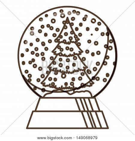 Pine tree and sphere icon. Merry Christmas season and decoration theme. Isolated design. Vector illustration