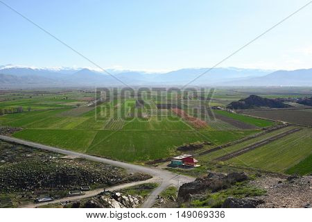Cultivated field at spring in Armenia