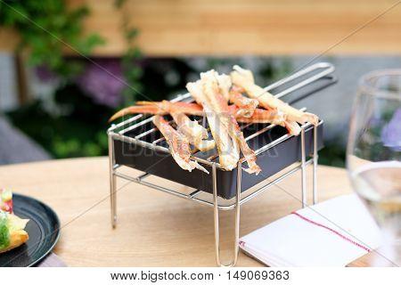 Crab legs in outdoor restaurant