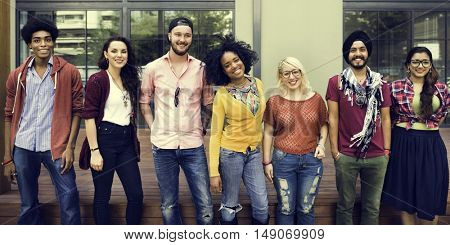 College Students Teamwork Happiness Smiling Concept