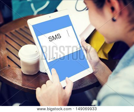 SMS Social Network Window Communication Concept