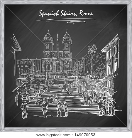 Spanish Stairs with tourists. Sketch imitating chalk drawing on a blackboard. Sketch is isolated on a separate layer. EPS10 vector illustration.