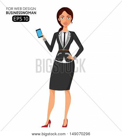 Young business woman using phone. Elegant young girl using phone flat cartoon vector illustration. Eps10. Isolated on a white background.