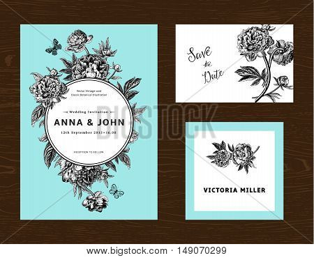 Wedding set. Menu save the date guest card. Black and white flowers peonies on mint background. Vintage vector illustration.