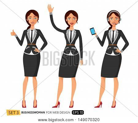 Three young women in business outfit. Smiling support phone female operator in headset.  Business lady waving her hand. Flat surprised business woman throwing up his hand.
