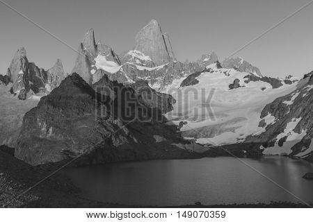 Cerro Fitz Roy in Argentina.Famous Patagonia mountains. Black and white filter.