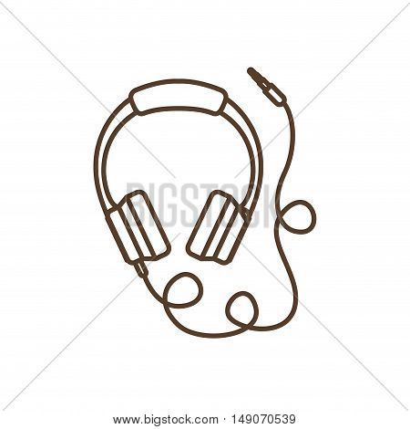 Headphone icon. Music and sound theme. Isolated design. Vector illustration