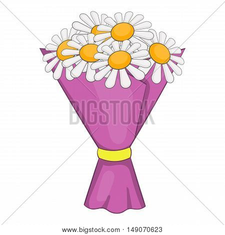 Bouquet of flowers icon in cartoon style isolated on white background. Gift symbol vector illustration