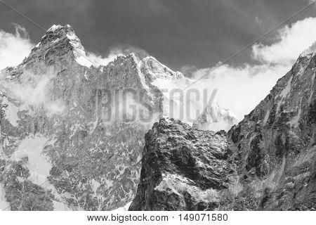 Scenic view of the Jannu peak in Kanchenjunga Region, Himalayas, Nepal.