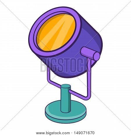 Spotlight icon in cartoon style isolated on white background. Light symbol vector illustration