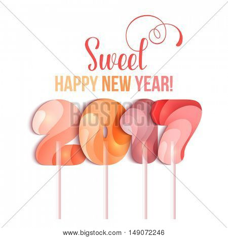 New Year 2017 in shape of candy stick isolated on white. Year number as striped holiday candies. Vector design element for christmas, new years day, sweet-stuff, winter holiday, new years eve, food