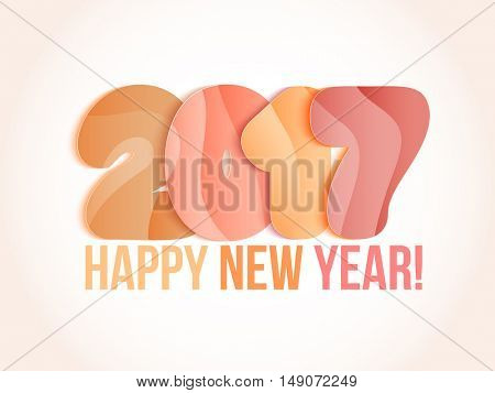 New Year 2017 greeting card. Vector illustration. Orange, yellow, pink numbers on white background.