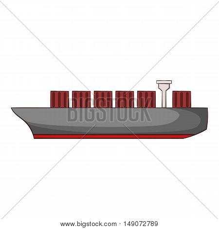 Cargo ship icon in cartoon style isolated on white background. Maritime transport symbol vector illustration