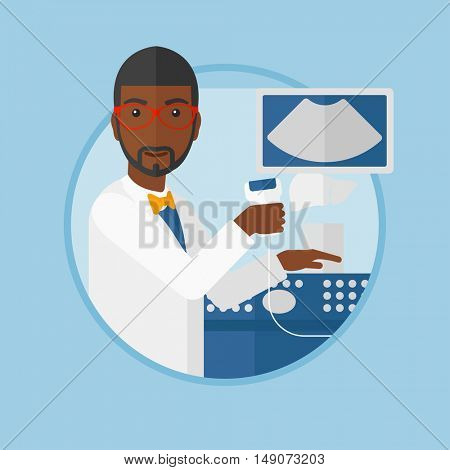 An african-american doctor with ultrasound scanner in the hands. Male doctor working on ultrasound equipment at medical office. Vector flat design illustration in the circle isolated on background.