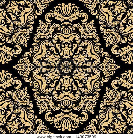 Seamless oriental ornament in the style of baroque. Traditional classic pattern. Black and golden pattern
