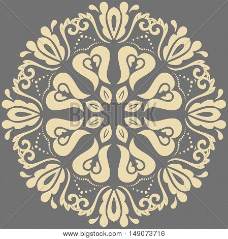 Elegant ornament in the style of barogue. Abstract traditional pattern with oriental elements. Gray and golden pattern