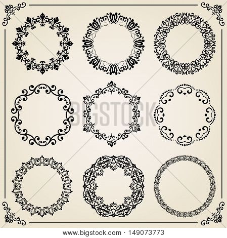 Vintage set of elements. Different round elements for decoration and design frames, cards, menus, backgrounds and monograms. Collection of floral ornaments