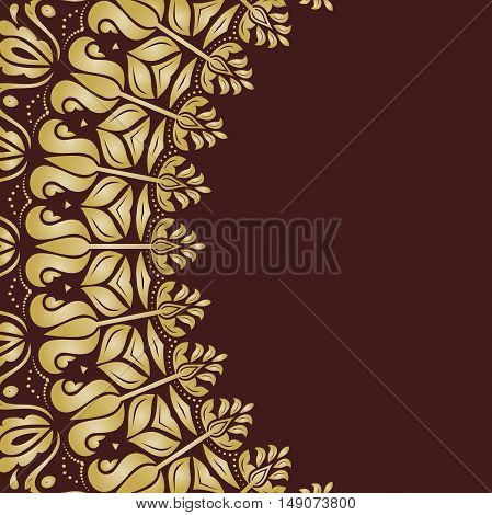 Oriental pattern with arabesques and floral elements. Traditional classic ornament. Brown and golden pattern