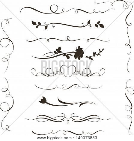 Set of decorative calligraphic elements, floral dividers and flower silhouettes for your design.