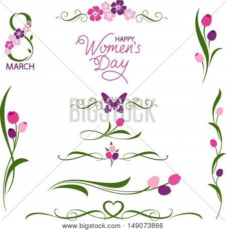 Set of decorative floral elements. 8 March. Women's day holiday